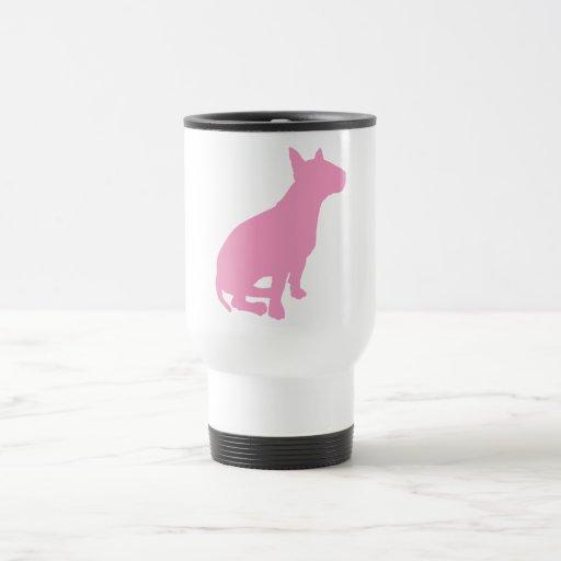 Bull terrier que se sienta (rosa) taza térmica