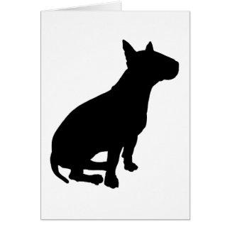 Bull terrier que se sienta felicitaciones