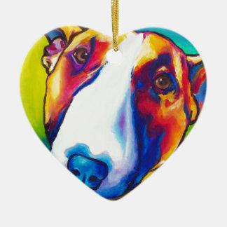 bull terrier red and white 2 ceramic ornament