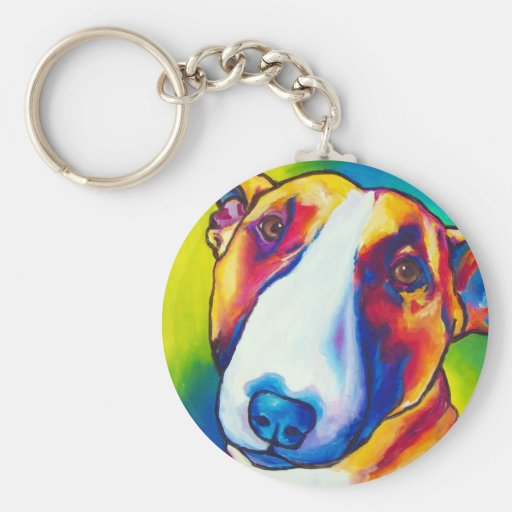 bull terrier red and white 2 keychains