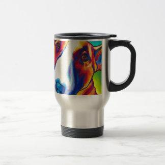 bull terrier red and white 2 travel mug