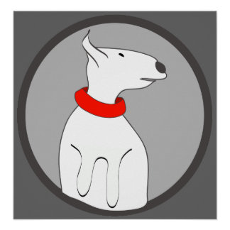 BULL TERRIER RED COLLAR PUPPY POSTER