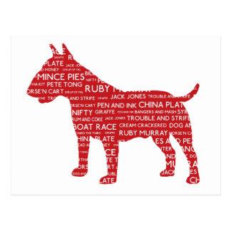 Bull Terrier Red London Slang Cockney Postcard