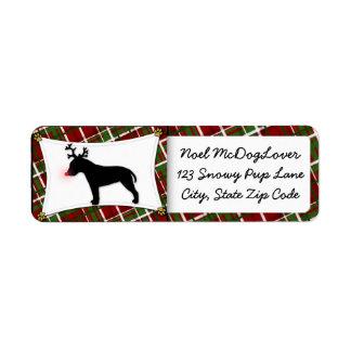 Bull Terrier Reindeer Christmas Return Address Label