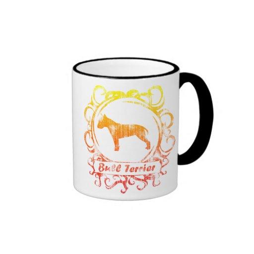 Bull terrier resistido con clase taza de dos colores