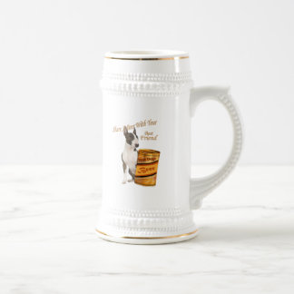 Bull Terrier Shares A Beer 18 Oz Beer Stein