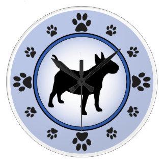 Bull Terrier Silhouette Wallclock