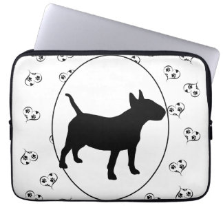 Bull Terrier Silhouette Hearts and Paw Prints Laptop Sleeve