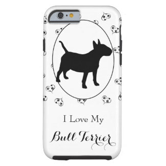 Bull Terrier Silhouette Hearts and Paw Prints Tough iPhone 6 Case