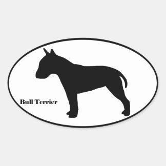 Bull Terrier SIlhouette Oval Sticker