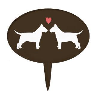Bull Terrier Silhouettes with Heart Cake Picks