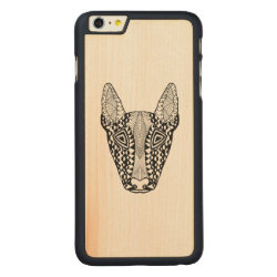 Carved iPhone 6 Plus Slim Wood Case with Bull Terrier Phone Cases design
