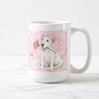 Bull terrier subió tarjeta del día de San Valentín Taza Clásica