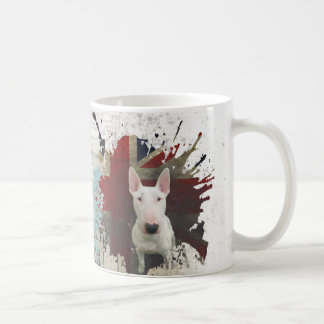 Bull Terrier Union Jack Newsprint background Coffee Mug