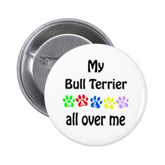 Bull Terrier Walks Design Buttons