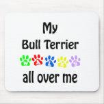 Bull Terrier Walks Design Mouse Pads
