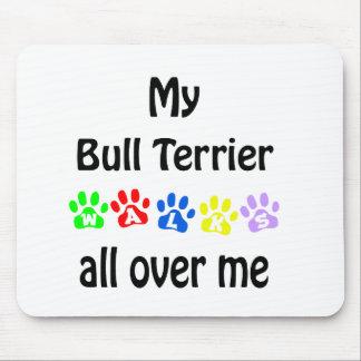 Bull Terrier Walks Design Mouse Pad