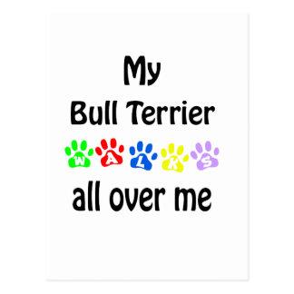 Bull Terrier Walks Design Postcard