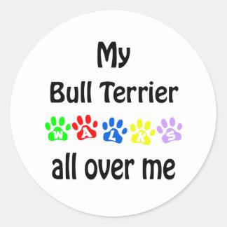 Bull Terrier Walks Design Sticker
