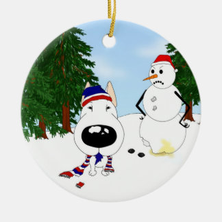 Bull Terrier Winter Scene Ceramic Ornament