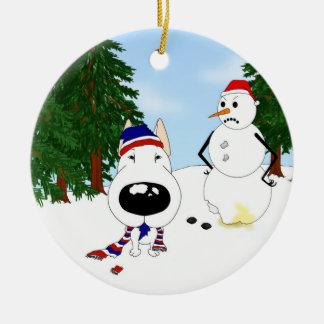 Bull Terrier Winter Scene Double-Sided Ceramic Round Christmas Ornament