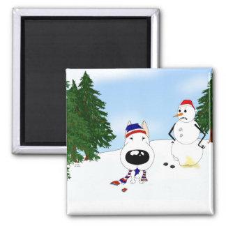 Bull Terrier Winter Scene Magnets