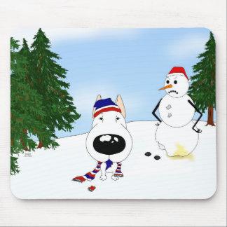 Bull Terrier Winter Scene Mouse Pad