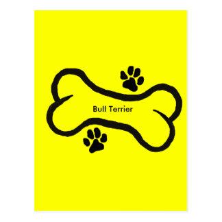 Bull Terrier with Bone N Paws Postcard
