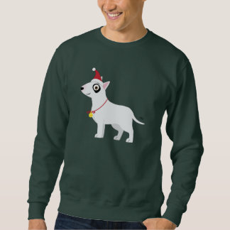 Bull Terrier with Santa Hat and Christmas Bell Pullover Sweatshirt