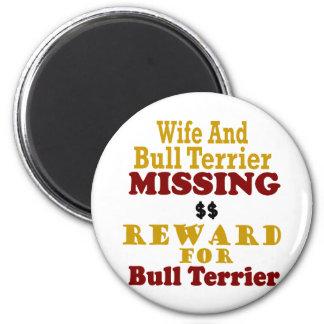 Bull terrier y recompensa que falta de la esposa p iman