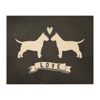 Bull Terriers Love Wood Wall Art