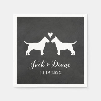 Bull Terriers Wedding with Custom Text Napkin