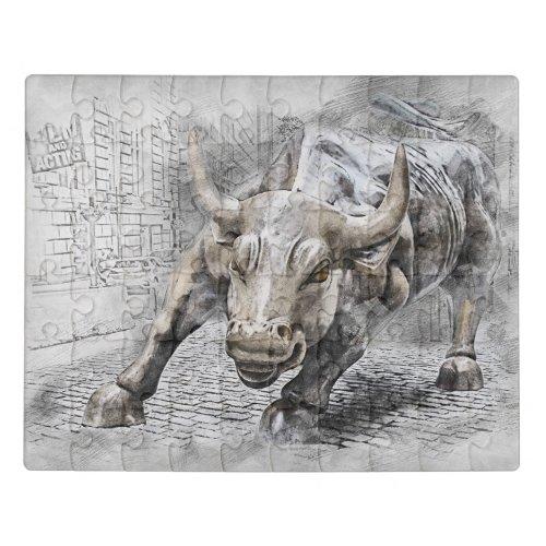 Bull Toro Market Mercado Stock Money Dinero Oro Jigsaw Puzzle