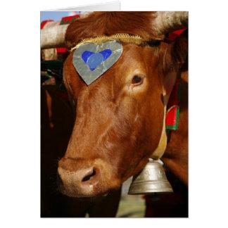 Bull y campana tarjeta de felicitación