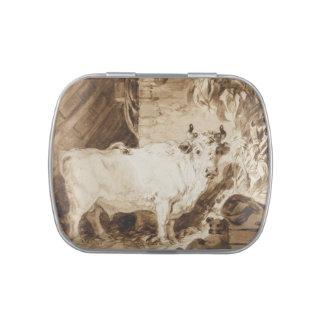 Bull y perro blancos en un establo por Fragonard Jarrones De Dulces