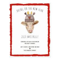 Bull Year | Funny Cow Christmas Holiday Postcard
