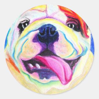 Bulldog #4 round sticker