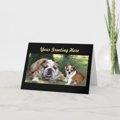 Bulldog Adult and Puppy Greeting Card by normagolden