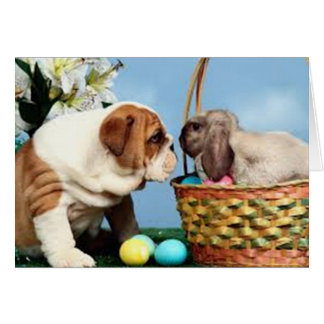 Bulldog and Easter Bunny Card