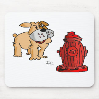 Bulldog and Fire Hydrant Mouse Pad