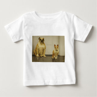 Bulldog and Friend (Sepia) Baby T-Shirt