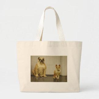 Bulldog and Friend (Sepia) Canvas Bag