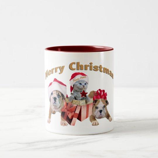 Bulldog and Kittens Merry Christmas gifts Two-Tone Coffee Mug