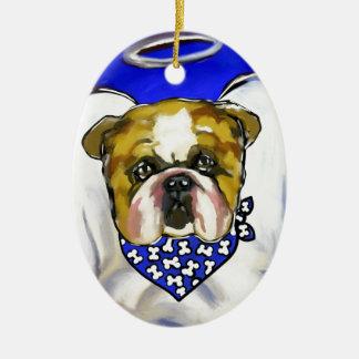 Bulldog Angel Ceramic Ornament