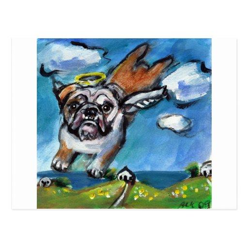 Bulldog angel flys free postcard