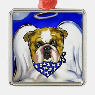 Bulldog Angel Metal Ornament