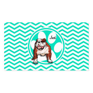 Bulldog; Aqua Green Chevron Business Cards