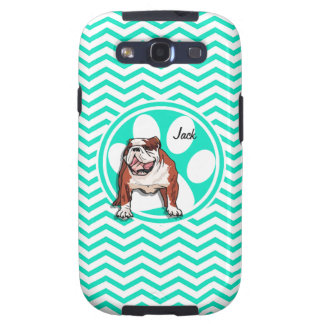 Bulldog; Aqua Green Chevron Galaxy S3 Covers