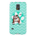Bulldog; Aqua Green Chevron Case For Galaxy S5