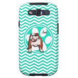 Bulldog; Aqua Green Chevron Galaxy SIII Cover